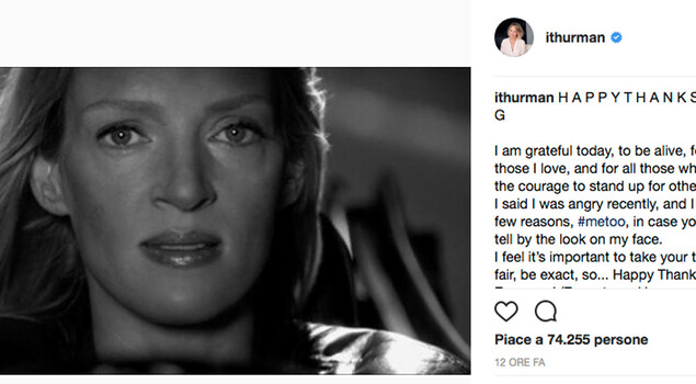 Uma Thurman invia un messaggio ad Harvey Weinstein in stile Kill Bill