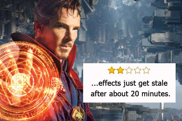 Doctor Strange, candidato come Migliori effetti visivi - «Gli effetti diventano stantii dopo solo 20 minuti».