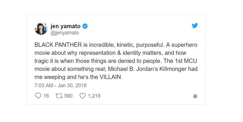 [Jen Yamato - Los Angeles Times] Black Panther è incredibile, cinetico, risoluto. Un hero movie sul perché la rappresentazione e l'i...