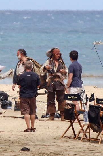 Pirati dei Caraibi 4 Johnny Depp Kevin McNally SET