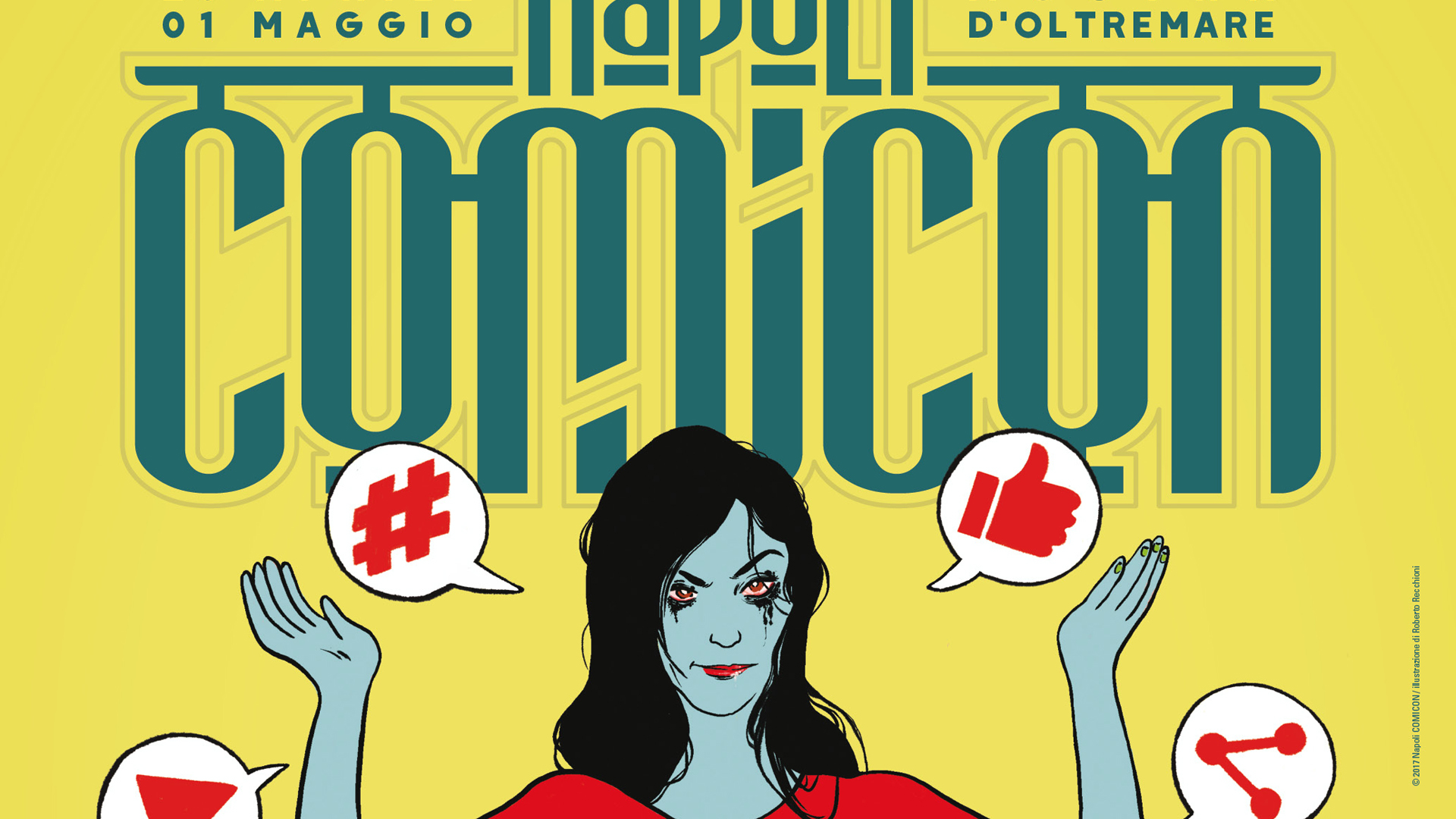 Il manifesto del Napoli COMICON realizzato da Roberto REcchioni per raccontare il rapporto tra web e fumetto