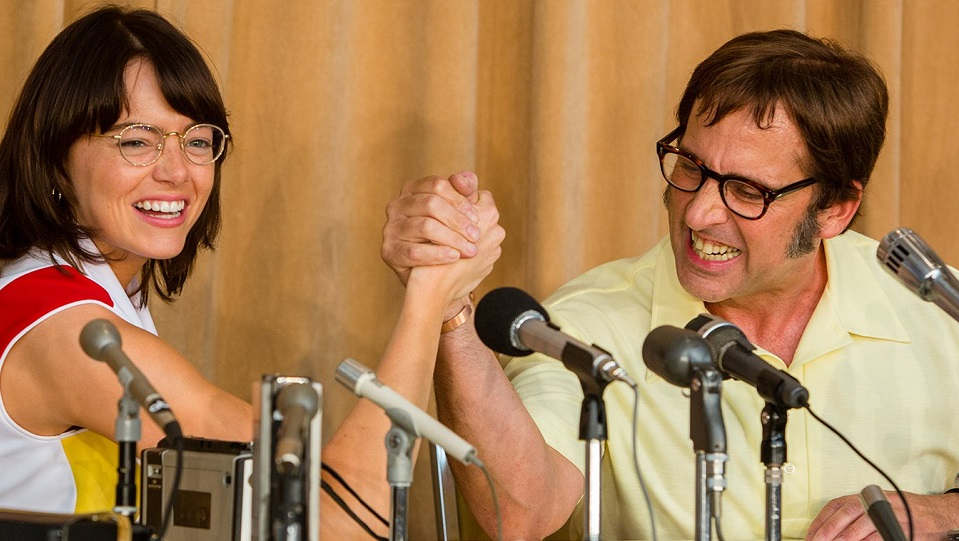 Emma Stone e Steve Carell in Battle of the Sexes