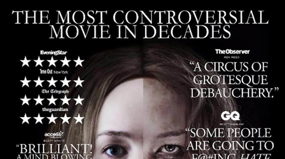 Madre! poster Jennifer Lawrence sfregiata