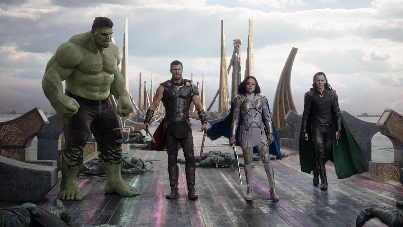 Hulk, Thor, Valchiria e Loki in Thor: Raganrok
