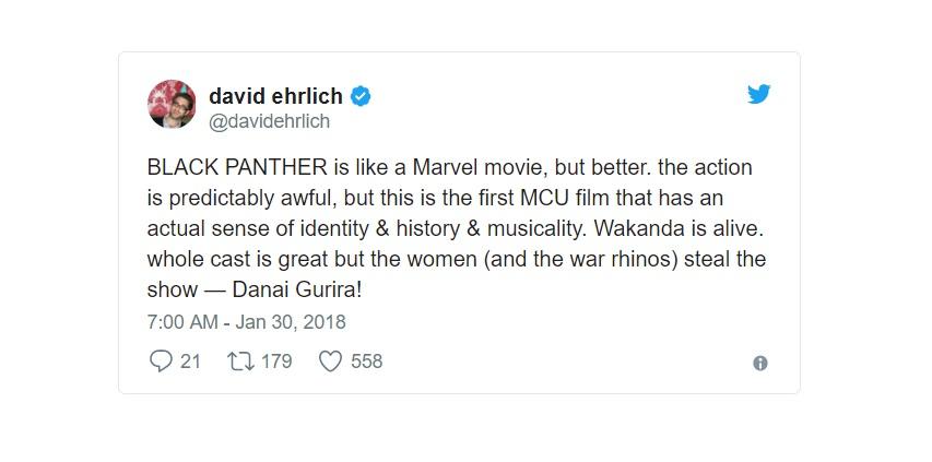 [David Ehrlich - Indiewire] Black Panther è come un film della Marvel, ma migliore. L'azione è prevedibilmente tremenda, ma questo è...