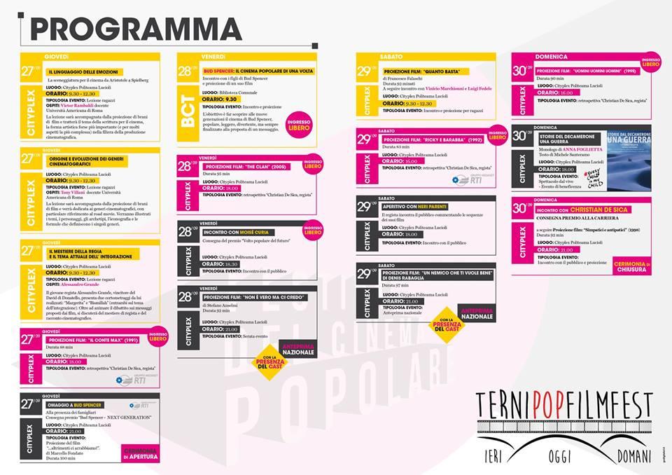 Terni Pop Film Fest: il programma completo